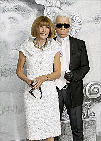 Anna Wintour, Editor of Vogue Magazine, with Karl Lagerfeld